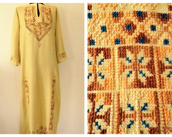 Embroidered dress, Traditional Ethnic Bulgarian Dress, Cross Stitches Dress, Folk Dress, Embroidered Long Dress, Size XL