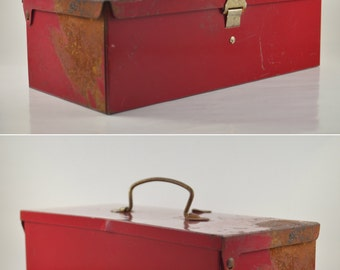 Vintage Red Metal Box, Metal Utility Box, Wrench Set Box with Handle, Industrial Tool Box, Grungy Vintage Storage Box, Man Cave Box with Lid
