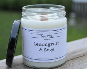 Lemongrass & Sage Soy Candle   8oz. Soy in Glass Jar   Wooden OR Cotton Wick   Spring Candle   Clean and Fresh   Aromatherapy Soy Candle