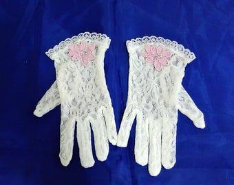 White flower girl gloves, Junior bridesmaid gloves, Little girls gloves, Children gloves, First Communion gloves, Party gloves,Church gloves