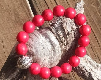 Red Magnesite stretch beaded bracelet 12mm