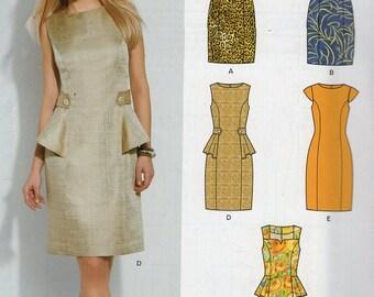 New Look 6124 Free Us Ship Hip Peplum Dress Princess Seams  Size 4 6 8 10 12 14 16 New Sewing Pattern Bust 29 30 32 34 36 38