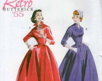 FREE US SHIP Butterick 5556 Sewing Pattern Vintage Retro 1950s 50s  Collar Dress Uncut Size 8/14 16/22 Bust 31 32 34 36 38 40 42 44  plus
