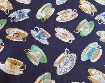 Teacups on Blue, High Tea, 100% Quilt Shop Quality Cotton, Sold by the Yard, Kanvas Studios for Benartex