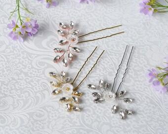 Gold wedding hair pin, Bridal hair Pin, Gold Headpiece, Rhinestone Hairpins, Bridal Hairpins, Bridal Headpiece, Wedding Headpiece