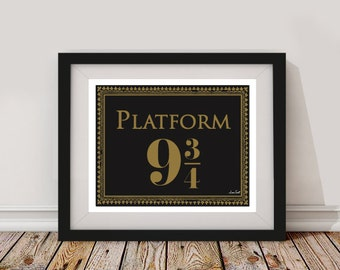 Platform 9 3/4  Poster/Print - minimalist harry potter hogwarts express art decor