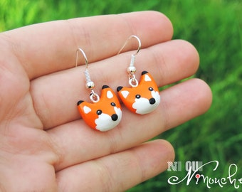 Red Fox (fimo) earrings small little fox hooks polymer clay Fox head