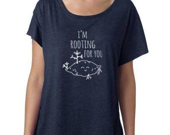 I'm Rooting For You Ladies Graphic Tee, Shirts With Sayings, Sweet Potato, Veggie Pun, Gift For Her, Dolman, Navy
