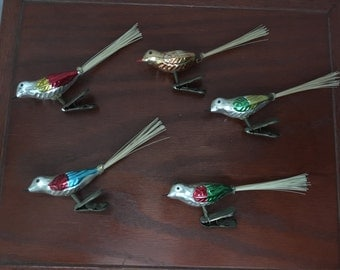 Five Vintage Christmas Clip-on Bird Ornaments