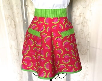 Women's Half Apron, Watermelon, Retro, Pink, Green