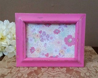 Pink Picture Frame; Rustic Pink Picture Frame; Painted and Distressed Pink Picture Frame; Shabby Pink Frame