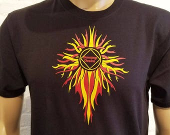 NA - BURNING DESIRE -Service Flames - Black or White T-shirt - S-5X  - 100% cotton