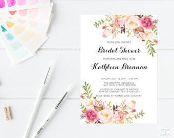 Bridal Shower Invitation Floral, Bridal Shower Invites, Wedding Shower Invitation, Bridal Party Invitations, Bachelorette Invites, PDF