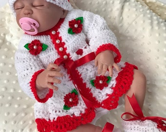 Baby Crochet Patterns, Crochet Cardigan Pattern, Crochet shoes, Crochet hat, baby cardigan, Baby shower, Baby Christmas dress, baby gift