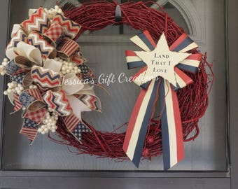 Ready to Ship Patriotic Grapevine Wreath/Americana/Red White and Blue/Rustic/Front Door Wreath/4th of July/Veteran's Day/Military Gift/USA