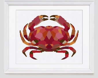 Cross stitch pattern, crab counted cross stitch, crab cross stitch pattern, crab cross stitch pdf pattern