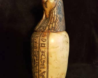RARE Antique Alabaster Egyptian Canopic Jar, Organs Storage Canopic, Collectible Alabaster Canopic Jar, Egypt Pyramid large Canopic jar