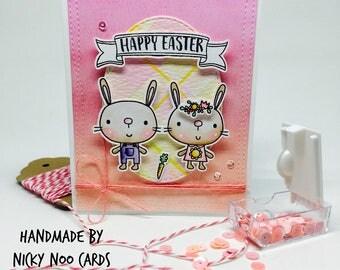 Handmade Easter Card - Cute Bunnies