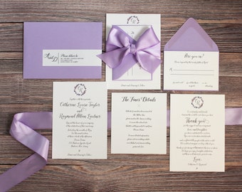 Lavender, Grey Calligraphy Ribbon Invitation Suite - SAMPLE ONLY