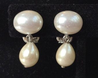 Carolee Dangle Faux Pearl Clip On Earrings