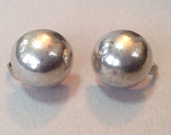 Sterling Siver Small Dome Screw Back Earrings