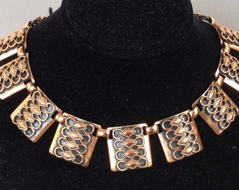 Copper Applied Pattern Link Collar and Chain Necklace