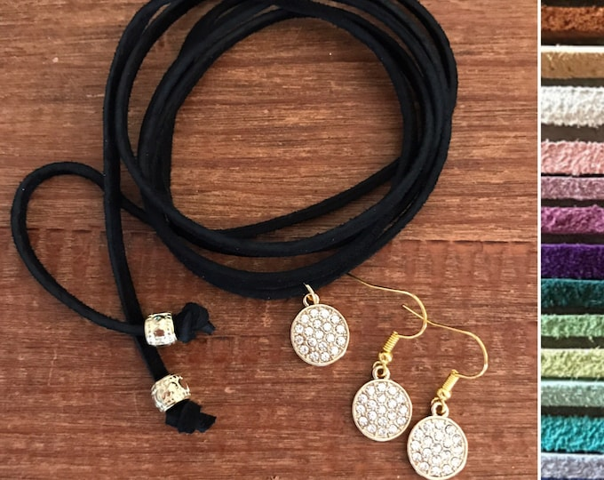 Cyber Sale Boho Jewelry Set Gold Leather Vegan Suede Choker Matching Earrings Set Diamond CZ Crystal Necklace Bride Bridesmaid Jewelry Set