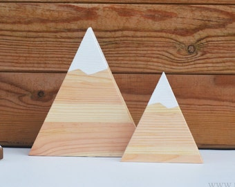 Wooden Mountain Set | Nursery Decor | scandi mountains | Wood Mountains | freestanding Mountain | mountains and hills | Snow Capped Mountain