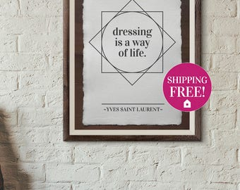Yves Saint Laurent quote poster printable vintage style for home interior design