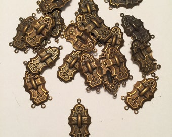 Twenty (20) Unusual Antique Gold, Patina Four (4) Hole Connector, Earring Top Finding
