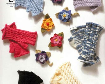 King Cole Knitting Pattern 2942~Fingerless Gloves & Floral Corsage~3yrs to Adult