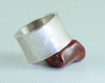 Forge ring, wide, strong, with hammer blow and distended, sterling silver, handmade awschmuckart, silver ring, band ring, gift, casual