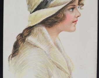 Artist Signed Postcard American Girl 83  Pearle Fidler LeMunyan Art Nouveau Girl Edward Gross Publishing