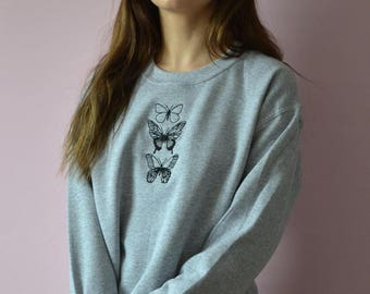 Embroidered trio of butterflies grey sweater