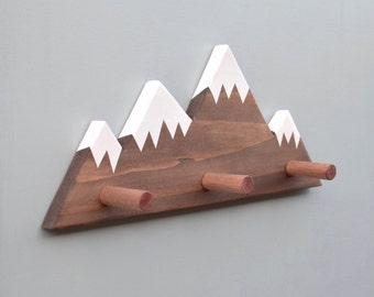 Mountain Peak Wallhooks, Woodland Nursery Decor, Woodland Decor, Mountain Wall Hook, Wooden Wall Hook for Kids