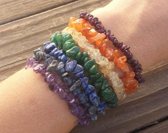 7 CHAKRA Natural Gemstone Chip Bracelet Set