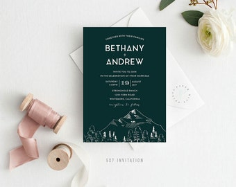 BETHANY SUITE || Printable Wedding Suite, Invitation, RSVP, Details, Table Numbers, Mountain, Green, Forest, Rustic