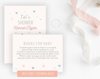 INSTANT DOWNLOAD || Books for Baby, Baby Shower, Baby Boy, Baby Girl, Printable, Hearts