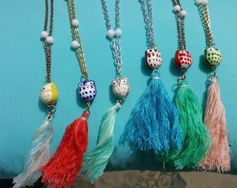 Long Ceramic Owl Necklaces with Coordinating Tassel for Everyday Wear
