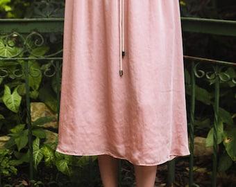 30% off sale, Pink skirt, Pink suit, Midi skirt, Summer skirt, High waisted skirt, Flower embroidery, Pink summer suit
