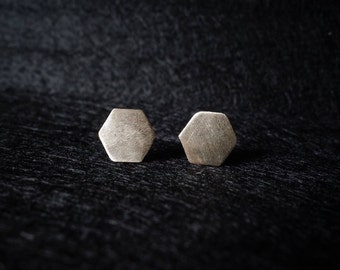 Earrings 925 Silver hexagonal geometric brushed