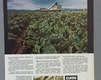 1970 Clark Equipment Company Print Ad - Central Valley - Farming - Spinich