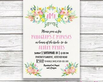 Monogram Bridal Shower Invitation, Monograms and Mimosas Bridal Shower Invite, Pink Preppy Bridal Shower, Spring Floral Printable Invitation