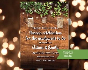 Engagment Party, Bridal Shower, or Wedding, Invitations, Custom, mason jars, twinkle lights, rustic, wood