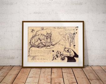 Medium - Cheshire Cat - Alice in Wonderland Art Print