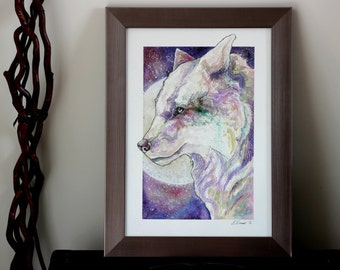 Space Wolf - Original Water Colour Painting