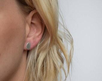 Stud Earrings - Silver Stud Earrings - Oval Post Earrings - Pebble Stud Earrings  - Round Studs