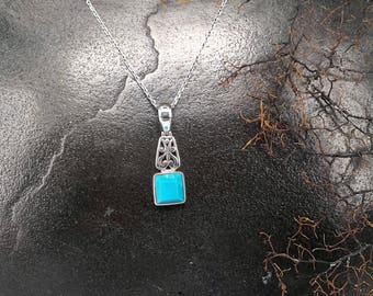 Natural Turquoise Pendant - Handmade & Silver
