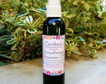 Aromatherapy Sunscreen Oil, Natural Sunscreen with Organic Argan Oil, Raspberry Seed Oil