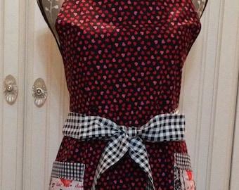 Womens full Apron, pink hearts, red hearts, black cotton, black check ruffle, Paris pockets